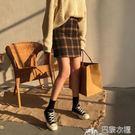 包臀裙 秋季韓版學院風寬鬆撞色格子半身裙...