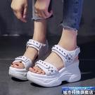 增高涼鞋 夏季涼鞋女新款百搭內增高超火鬆糕厚底厚底仙女老爹鞋 城市科技