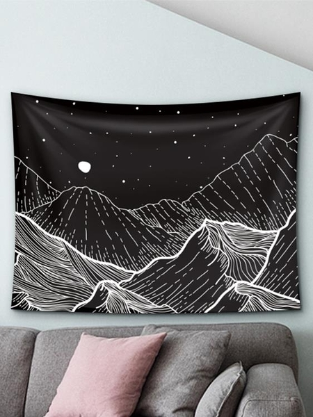 掛毯 黑色山脈風景掛布ins背景布房間床頭背景裝飾布掛畫拍照墻布 亞斯藍
