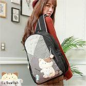 後背包~雅瑪小舖日系貓咪包 啵啵貓好朋友釣魚趣後背包/手提包/拼布包包