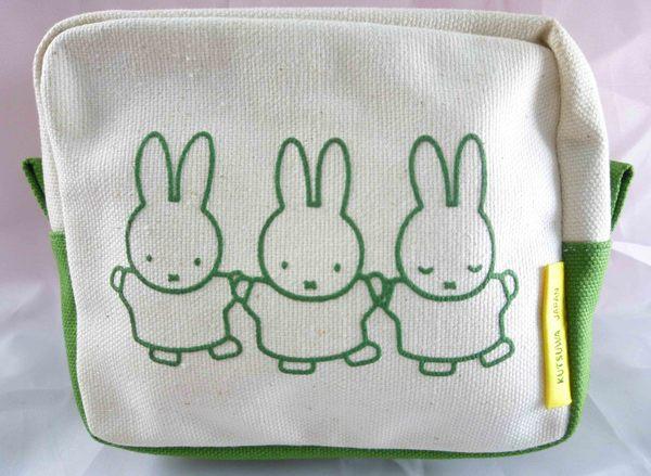 【震撼精品百貨】Miffy 米菲兔米飛兔~寬型帆布化妝包『橘&藍&綠』