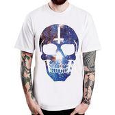 COSMIC SKULL#2短袖T恤-白色十字架銀河系骷髏搖滾設計插畫裸女潮流情色樂團玩翻390 gildan