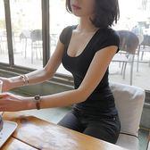 2018新款低胸t恤女短袖上衣修身純色半袖潮韓范簡約緊身打底衫夏