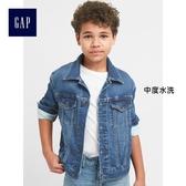 Gap男童 柔軟長袖兒童牛仔夾克 水洗彈力外套童裝 239226-中度水洗
