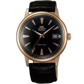 【台南 時代鐘錶 ORIENT】東方錶 DATEⅡ經典機械錶 FAC00001B 皮帶 玫瑰金 40mm