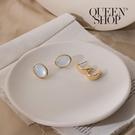 Queen Shop【07030621】貓眼石金屬環形耳針式耳環兩件套組*現+預*
