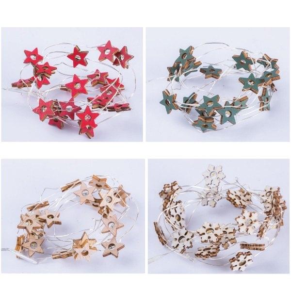 節慶王【X000803】星星/雪花造型銅線燈(4款-隨機出貨),聖誕節/LED燈/小木盒燈串/木製/裝飾/擺飾