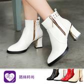 歐美英倫率性鉚釘金屬方跟裝飾高跟短靴/4色/35-43碼 (RX1048-6-7) iRurus 路絲時尚