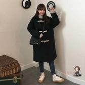 牛角釦大衣 冬裝新款韓版寬鬆牛角釦外套女中長款學院風加厚大衣T