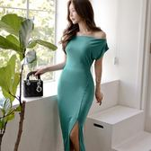 ✎﹏₯㎕ 米蘭shoe  裙子韓版氣質修身針織中長款開叉包臀一字肩連衣裙