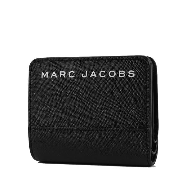 美國正品 MARC JACOBS 白色LOGO防刮皮革釦式短夾-黑色【現貨】