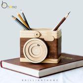 萬聖節快速出貨-教師節禮物簡約現代木質多功能筆筒創意時尚辦公桌面文具收納擺件