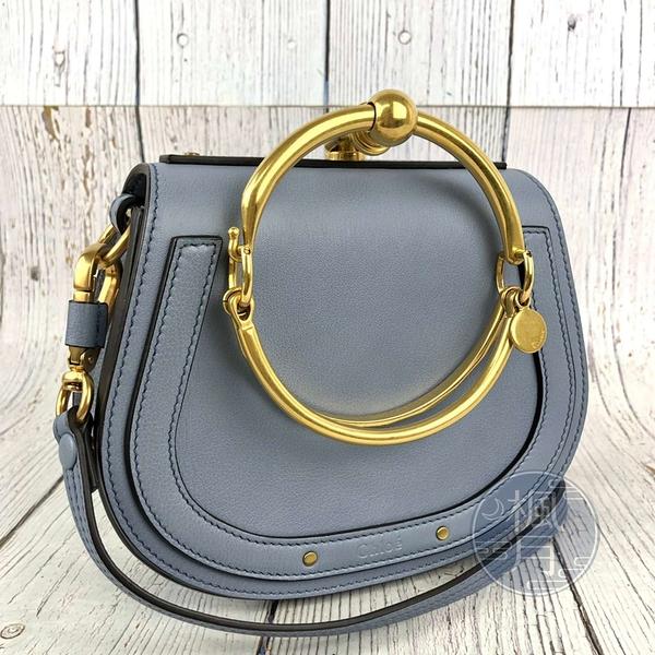 BRAND楓月 CHLOE NILE 經典 灰藍色 麂皮 皮革 金屬 手環包 兩用包 肩背包 手提包