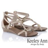 ★2019春夏★Keeley Ann細條帶 輕巧時尚線條感平底涼鞋(米色)