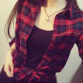 時尚格子翻領長袖襯衫(YY-7193)