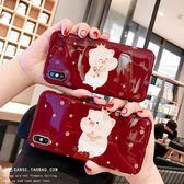 可愛卡通小豬新年款蘋果X手機殼酒紅色iphone xs max全包軟殼8plus情侶7plus防摔XR硅膠保護套蘋果6splus