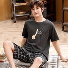 男士睡衣夏季薄款短袖純棉青年學生個性潮搞怪家居服套裝卡通夏天貝芙莉