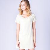 思薇爾-小綿羊系列M-L印花連身式居家洋裝(淺黃色)