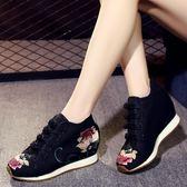春秋新款老北京布鞋女內增高跟媽媽繡花鞋子民族中國風旅游鞋