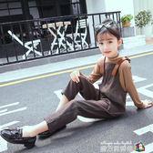 童裝女童春裝2018新春款套裝韓版中大童兒童背帶褲洋氣兩件式潮衣 魔方數碼館