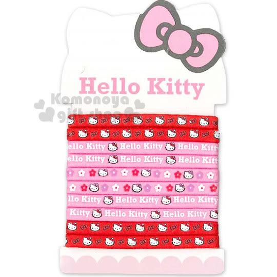 〔小禮堂〕Hello Kitty 彈力髮束《10入.紅粉.蝴蝶結.花.大臉.細型》髮圈 4712977-46186