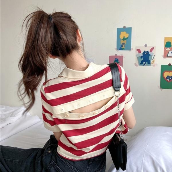DE shop - 設計感短款條紋拼色露背POLO衫短袖T恤 - T-7805