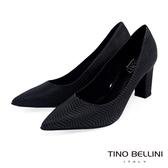 Tino Bellini 巴西進口幾何形象波浪線條尖楦跟鞋 _ 黑 B83245A 歐洲進口款