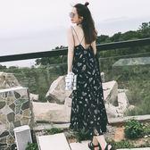 現貨 夏日度假沙灘印花雪紡長洋裝顯瘦洋裝連身裙連身長裙沙灘裙 限時降價