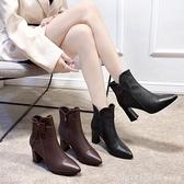 短靴 女士短靴2020秋冬季新款百搭粗跟高跟網紅靴子時尚尖頭顯瘦馬丁靴 開春特惠