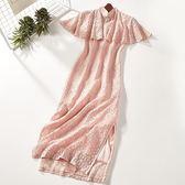 夏季新款荷葉袖修身長款高腰洋裝改良旗袍 〖korea時尚記〗