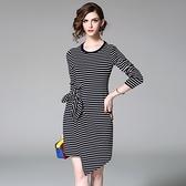 洋裝-長袖圓領條紋不規則下擺女連身裙73of105【巴黎精品】