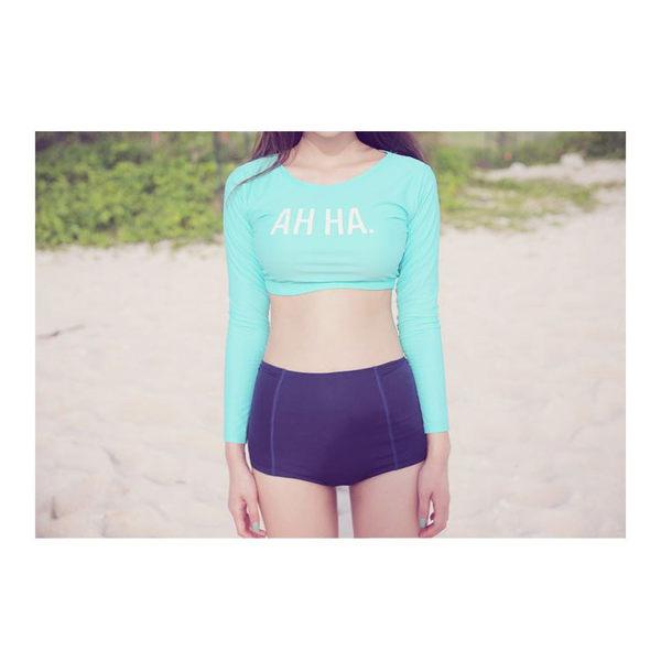 Melek 比基尼 (共1色) 現貨【A01160617-10】女泳裝上藍長下黑高腰 泳裝/比基尼/潛水裝