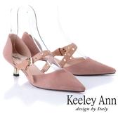 ★2019春夏★Keeley Ann慵懶盛夏 真皮金屬鉚釘細跟尖頭包鞋(粉紅色) -Ann系列