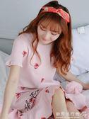 草莓睡裙女短袖純棉韓版清新學生寬鬆可愛可外穿睡衣  歐韓流行館