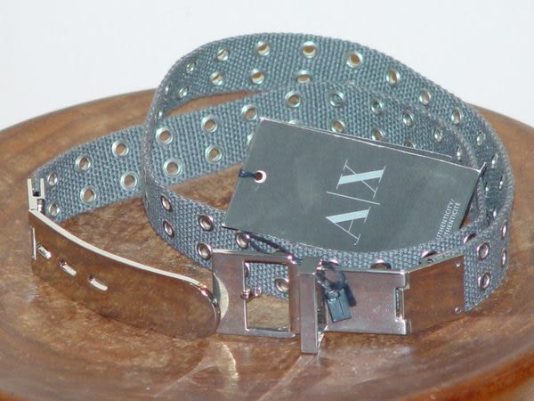 【Armani Exchange】A|X金屬扣環帆布扣眼皮帶-灰綠