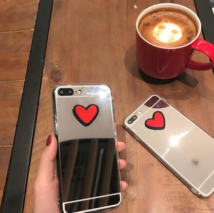 【SZ13】iPhone7/8plus手機殼 刺繡愛心鏡面iPhone6s plus手機殼iPhone 7/8全包軟殼 iPhone X手機殼