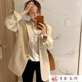 西裝外套 春秋季新款米色西裝外套女韓版休閒西服上衣寬鬆顯瘦小西裝女【快速出貨】