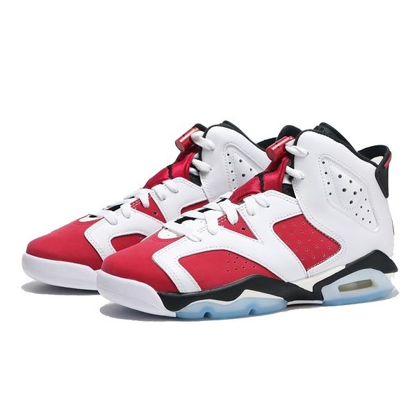 NIKE 籃球鞋 AIR JORDAN 6 RETRO CARMINE GS 六代 胭脂紅 復刻 經典 女 (布魯克林) 384665-106