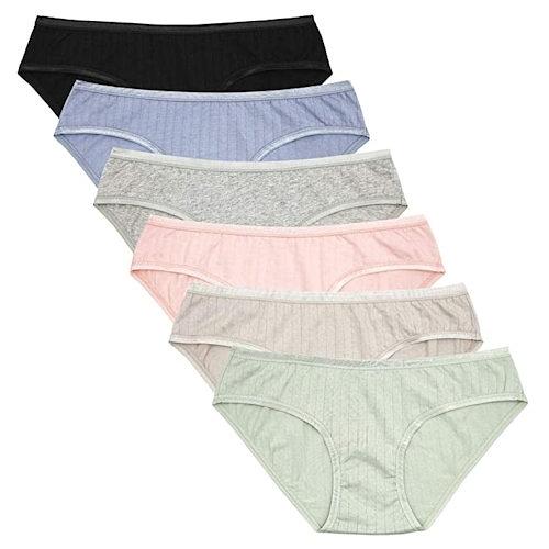 女棉質彈力比基尼舒適內褲6件裝(多色)