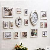 現代歐式照片牆鐘錶不規則雕花實木相片牆 客廳沙發相框牆