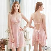 情趣 角色服 睡衣 內衣 ★大尺碼Annabery甜心粉紅透視柔紗美背二件式性感睡衣★粉色┌NY18020032