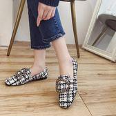 豆豆鞋女金屬扣平底淺口方頭單鞋格子拼色社會奶奶鞋 愛麗絲精品