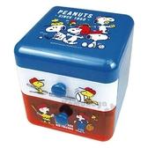 〔小禮堂〕史努比桌上型塑膠雙抽收納盒《藍白打棒球》置物盒抽屜盒飾品盒4979274 03318
