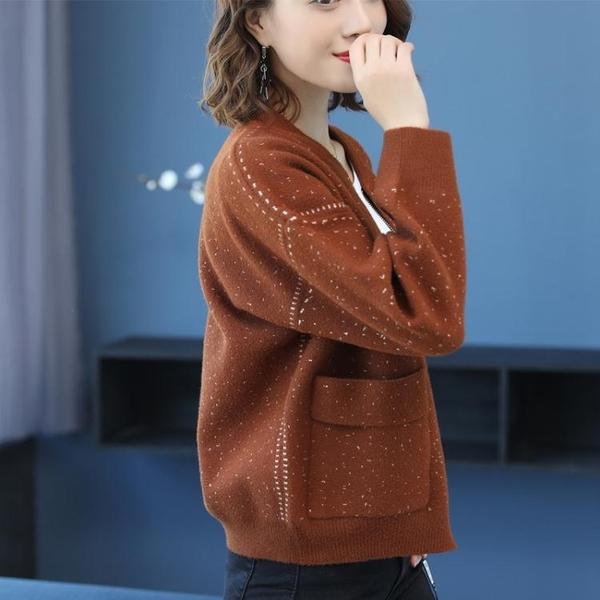 飛行外套 棒球服貂絨外套女好康推薦新款寬鬆秋冬保暖針織開衫水貂絨短款小外套上衣