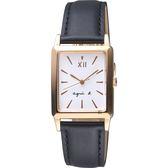 agnes b. 法國文青系列時尚手錶-白x玫塊金框x黑/25mm VJ21-KFY0Z(BH8046X1)