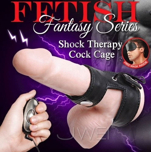 美國PIPEDREAM.Fantasy Series系列 Shock Therapy Cock Cage 電波脈衝延時鎖精環型皮革自慰器