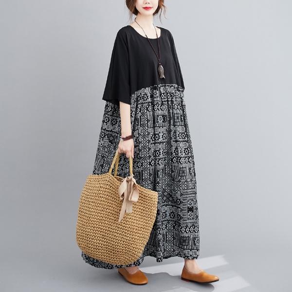 洋裝 - K6794 民族風圖騰拼接寬鬆棉麻洋裝【加大F】