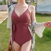 新款泳衣女遮肚顯瘦保守大小胸聚攏連體性感比基尼韓國ins風泳裝 草莓妞妞
