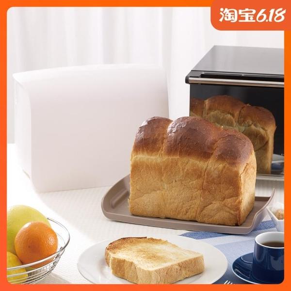 尺寸超過45公分請下宅配日本進口家用面包收納箱帶蓋水果面包食品儲物箱吐司保鮮收納盒子