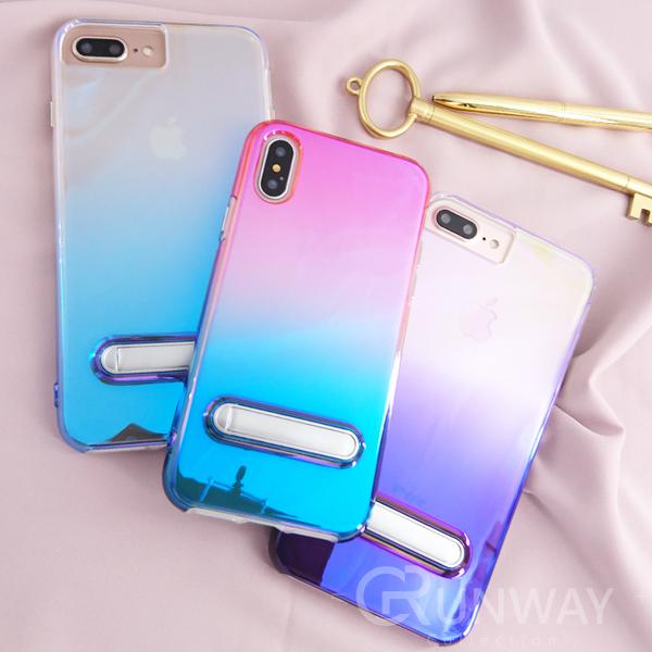 【R】女神藍光漸變二合一 iPhone8 plus 手機殼 iphone X 變色 帶支架 閨蜜 全包 掛繩孔